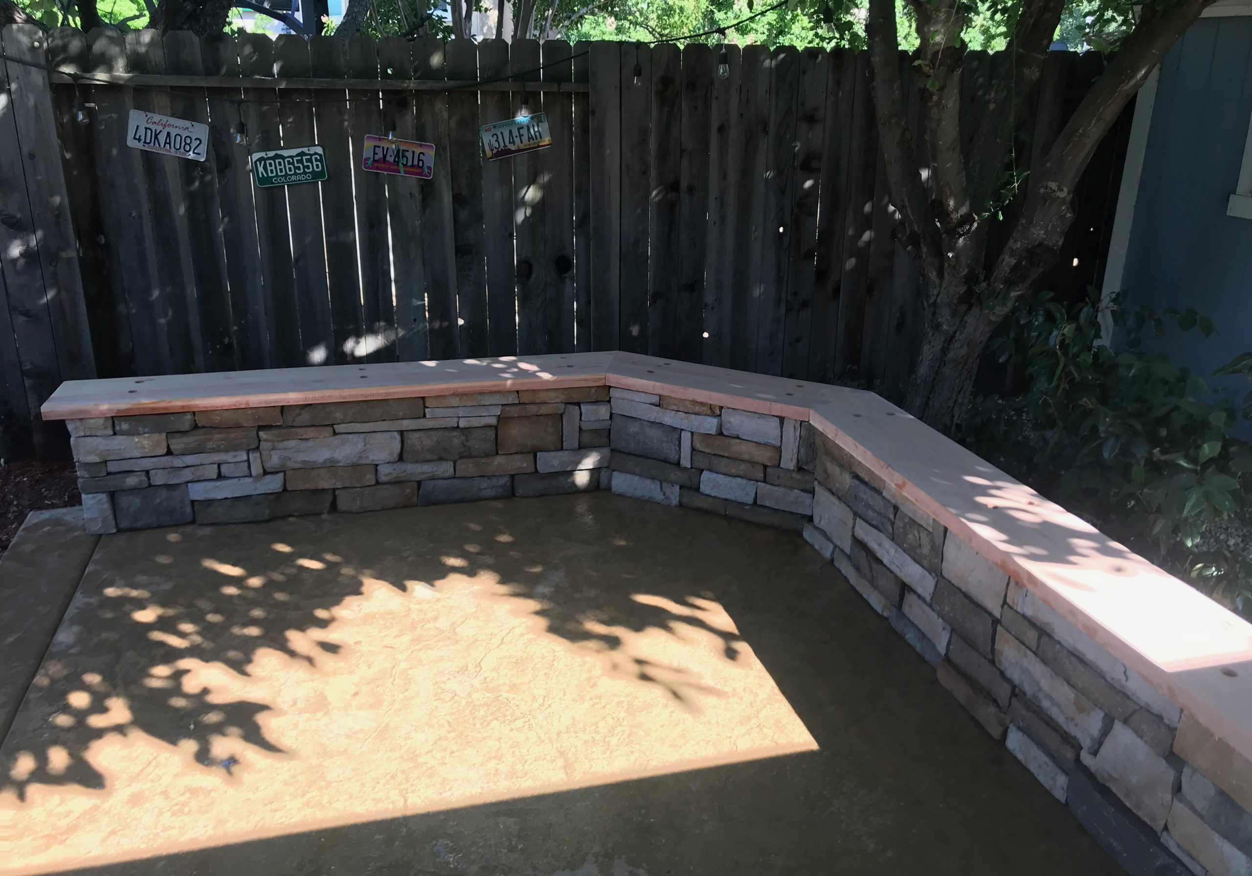 this image shows stained concrete patio in escondido by escondido concrete masonry